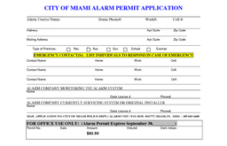 CITY OF MIAMI ALARM PERMIT APPLICATION Alarm Users Name Home Phone Work Cell  Ad