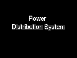 Power Distribution System PowerPoint PPT Presentation