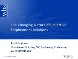 The Changing Nature of Collective Employment Relations