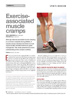 Medicine Today NOVEMBER  VOLUME  NUMBER  Exercise associated muscle cramps SOPHIE ARMSTRONG MB ChB MScSEM TOM CROSS MB BS FACSP DCH Although exerciseassociated muscle cramping is a common complaint