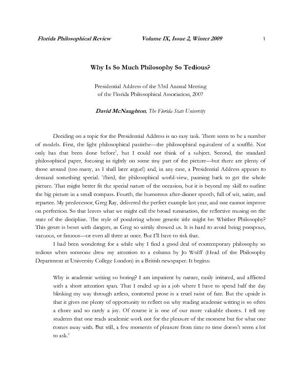 Florida Philosophical Review Volume IX, Issue 2, Winter 2009     Why I