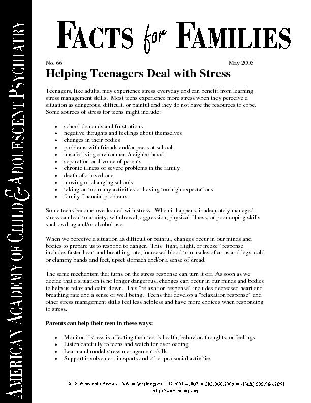 No. May Helping Teenagers Deal with StressTeenagers, like adults, may