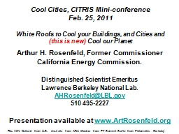 Cool Cities, CITRIS Mini-conference
