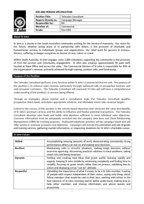 JOB AND PERSON SPECIFICATION