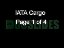 IATA Cargo  Page 1 of 4
