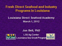 Fresh Direct Seafood and Industry Programs in Louisiana