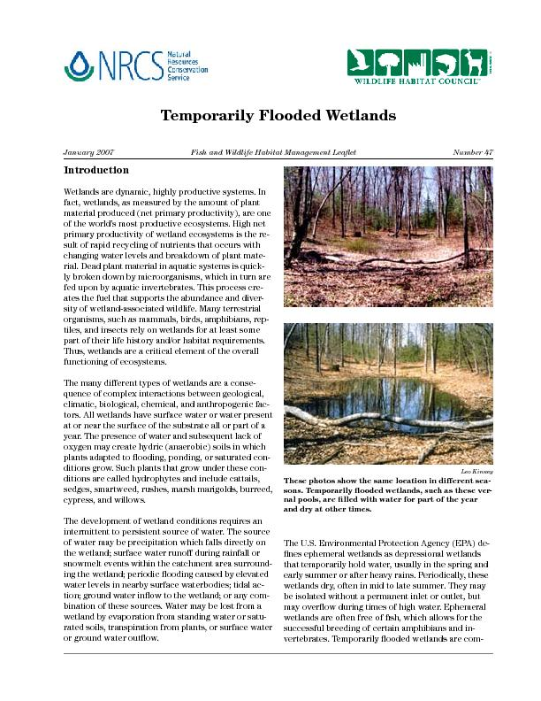 Temporarily Flooded Wetlands   Fish and Wildlife Habitat Management Le