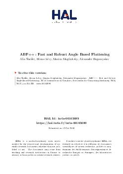 ABF Fast and Robust Angle Based Flattening Temporary version  In print Alla Shef