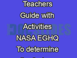 Impact Craters Teacher Page Exploring the Moon  A Teachers Guide with Activities NASA EGHQ To determine the factors affecting the appearance of impact craters and ejecta