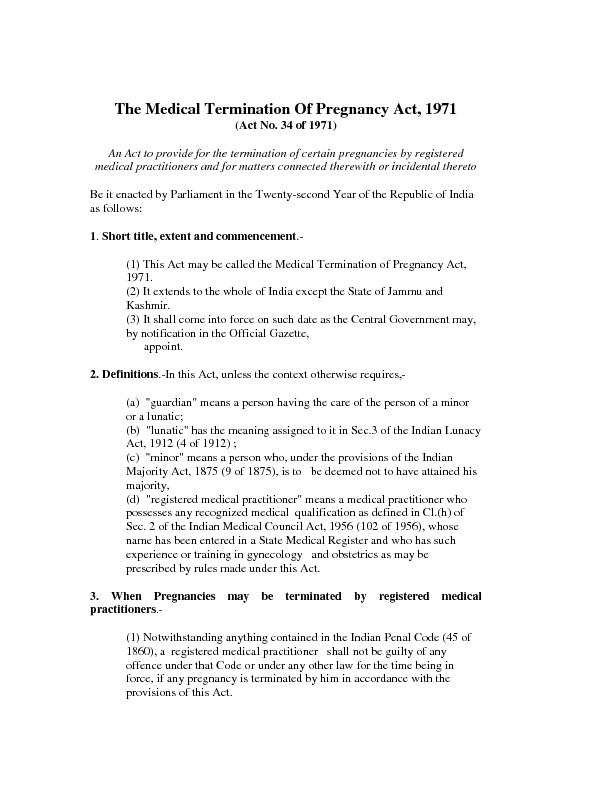 The Medical Termination Of Pregnancy Act, 1971(Act No. 34 of 1971)An A