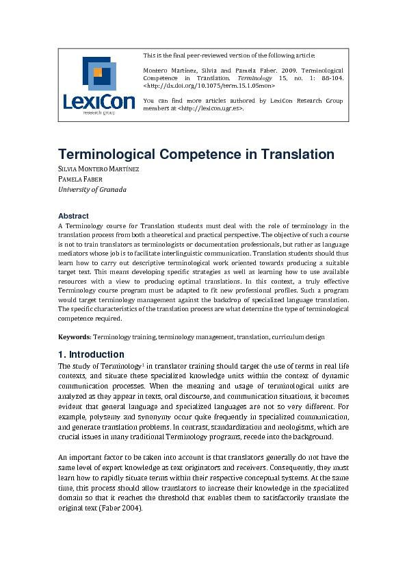 Terminological Competence in Translation VA