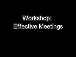 Workshop: Effective Meetings