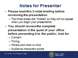 Notes for Presenter PowerPoint PPT Presentation