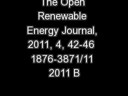The Open Renewable Energy Journal, 2011, 4, 42-46  1876-3871/11 2011 B