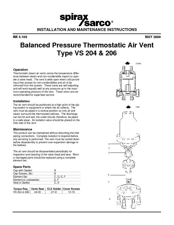 Balanced Pressure Thermostatic Air Vent