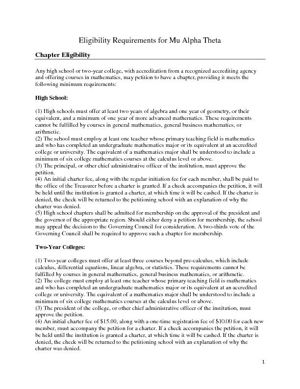 Eligibility Requirements for Mu Alpha Theta