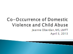 Co-Occurrence of Domestic Violence and Child Abuse