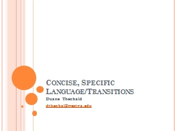Concise, Specific Language/Transitions PowerPoint PPT Presentation