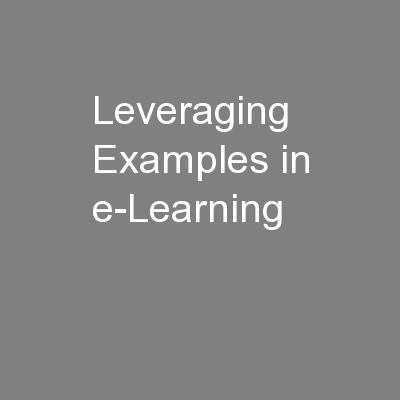 Leveraging Examples in e-Learning