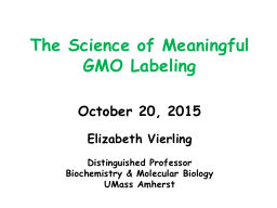 The Science of Meaningful GMO Labeling