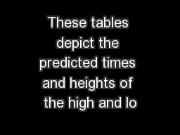 These tables depict the predicted times and heights of the high and lo