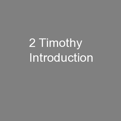 2 Timothy Introduction
