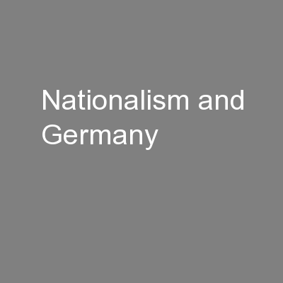 Nationalism and Germany