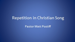 Repetition in Christian Song