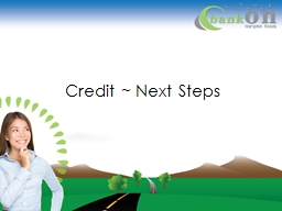 Credit ~ Next Steps