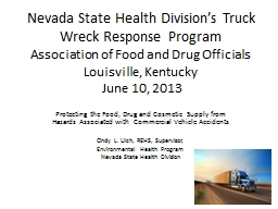 Nevada State Health Division's Truck Wreck Response Progr
