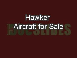Hawker Aircraft for Sale