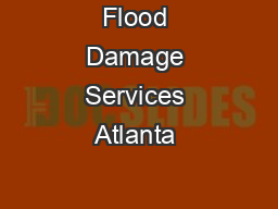 Flood Damage Services Atlanta