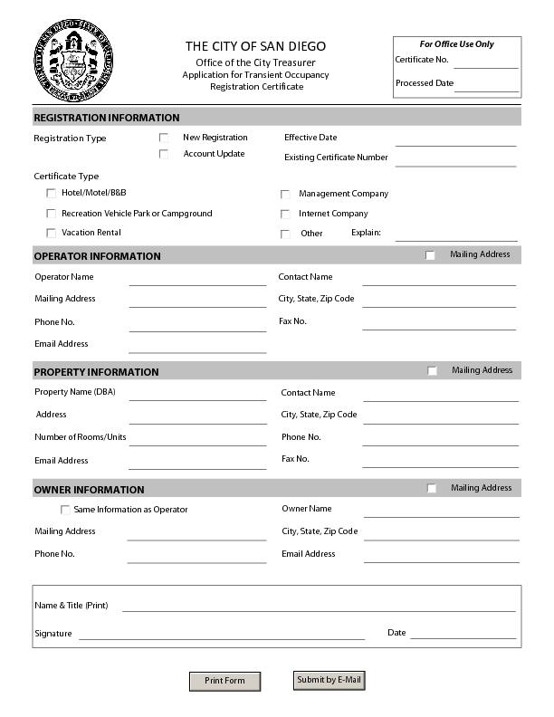 THE CITY OF SAN DIEGO Office of the City Treasurer Application for Tra