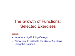 The Growth of Functions: