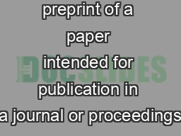 This is a preprint of a paper intended for publication in a journal or proceedings