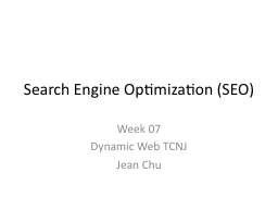 Search Engine Optimization (SEO) PowerPoint PPT Presentation
