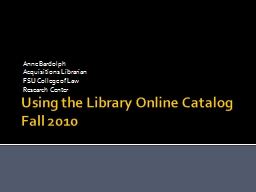 Using the Library Online Catalog