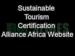Sustainable Tourism Certification Alliance Africa Website