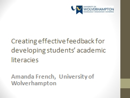Creating effective feedback for developing students' acad PowerPoint PPT Presentation