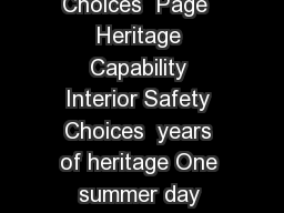 Page   Page  Heritage Capability Interior Safety Choices  Page  Heritage Capability Interior Safety Choices  years of heritage One summer day back in  the  rst Land Cruiser then called the BJ started