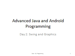 Advanced Java and Android Programming