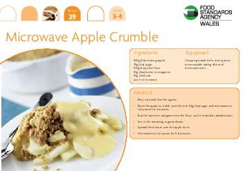 Recipe  Serves  Ingredients g lb cooking apples g oz sugar g oz plain flour g oz butter or margarine g oz oats pinch of cinnamon Chopping board knife mixing bowl microwavable baking dish and microwav