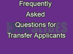 Frequently Asked Questions for Transfer Applicants