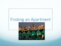 Finding an Apartment
