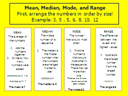 Mean, Median, Mode, and Range PowerPoint PPT Presentation