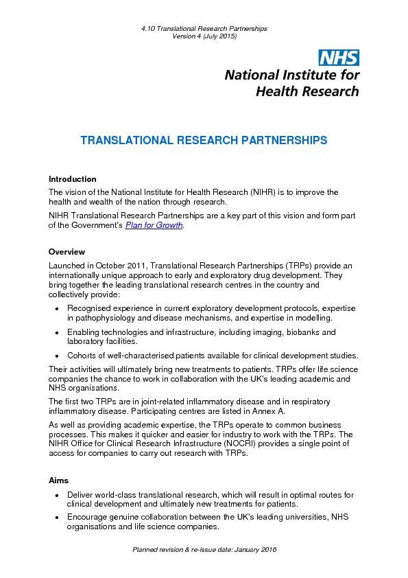 4.10 Translational Research Partnerships