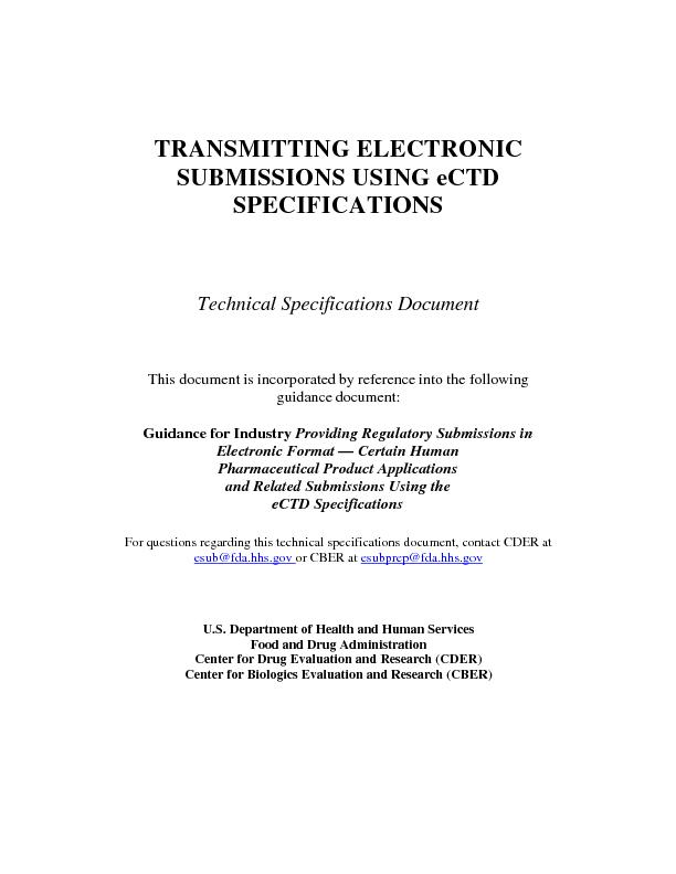 TRANSMITTING ELECTRONIC SUBMISSIONS USING eCTD SPECIFICATIONSTechnial