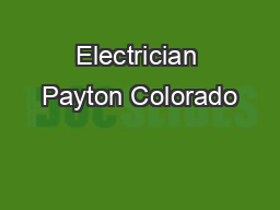 Electrician Payton Colorado