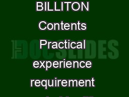 CPA Program The Practical Experience Guide EV CH NG CPA NIOR AN LY P BILLITON Contents Practical experience requirement ow to identify if your role is relevant Where do you t What skills areas do you