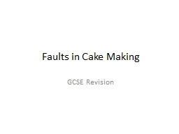 Faults in Cake Making PowerPoint PPT Presentation